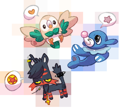 Sun and moon starters by griffsnuff
