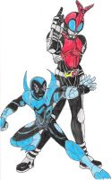 Kamen Rider Kabuto and Blue Beetle by FlairNightz