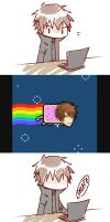 Keiji's reaction to his nyancat self by JeanRyde