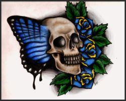Butterfly Skull Coloured by Metalhead99