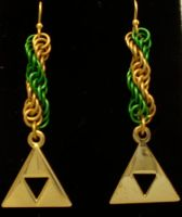 Triforce Spiral Earrings by Silkyprime