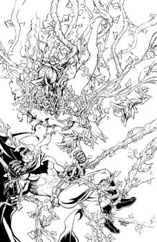 Poison Ivy vs. Batman Pin Up Inks by RobertDanielRyan