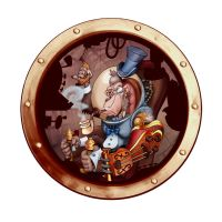 Steampunk Space Chimp Porthole by borogove13