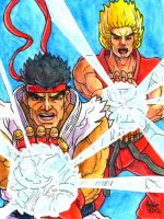 Sketchcard PXZ Ryu and Ken by fedde