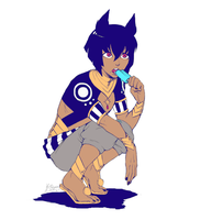 [Kamigami no Asobi] Anubis eating a popcicle by Kathisofy