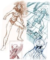 Wolverine/WonderWoman Sketches by dichiara