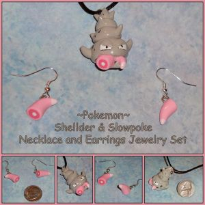 Pokemon - Slowbro Necklace Slowpoke Tail Earrings by YellerCrakka