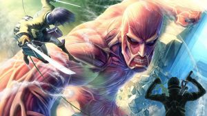 Eren and Kirito VS Colossal Titan by SiegXionhart