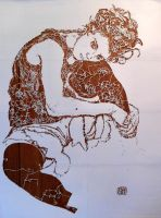 Schiele's 'The Artist's Wife' Stencil by sykonurse