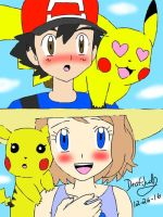 Amourshipping and pikashipping in Alola  by DeafJudy