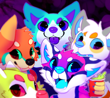 Colourfull rainbowass dog party by Pand-ASS