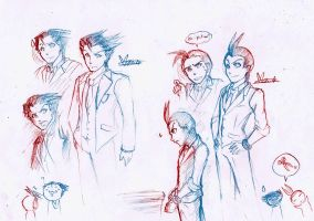 Quick Sketch: Phoenix Wright and Apollo Justice by Marini4