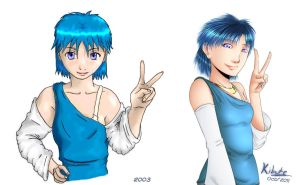 before - after Blue Hair by Kibate