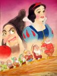 Snow white and the seven dwarfs watercolor by Kevsoraone