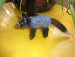 Needle felted silver fox plushie by ArcticIceWolf