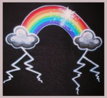 Rainbow Storm Airbrush Shirt by vampireheartagram27