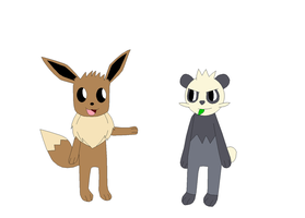 Eevee and Pancham by Kitsune257