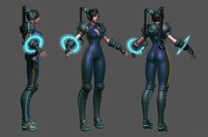 Cyber Chun-Li Wip 8 by HazardousArts