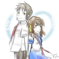 Kyon and Haruhi by tifatheawesome
