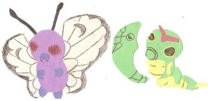 Caterpie Metapod and Butterfree Paper Dolls by Keyruka