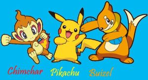 Chimchar,Pikachu and Buizel by Dark-Infernape
