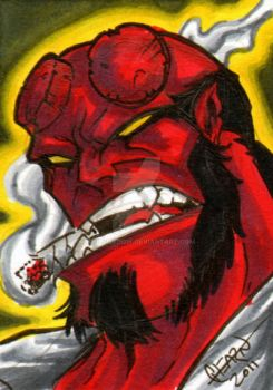Hellboy Sketch Card by soulshadow