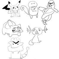 Angry Pokemon Sketches by Ramen11111