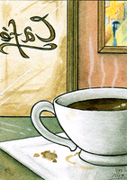 SOLD - ACEO - Warm Cafe by KaizokuShojo