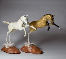 Akhal Teke horse sculptures - finished by PostmodernEquestrian