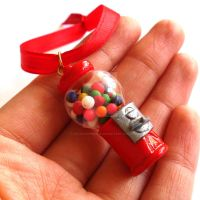 Miniature Gumball Machine Christmas Ornament by FatallyFeminine