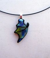 Dragon Wing Fused Glass Blue Green Necklace by FusedElegance