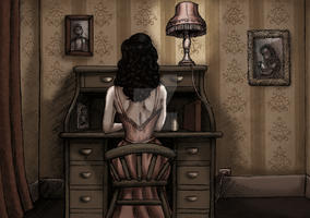 Writing lady in 1944 by LaTaupinette