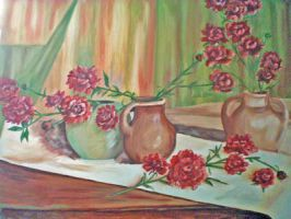Still Life: Pottery and Peonies by Yesterdays-Thimble