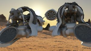 Piston Pod Racer (close up) by MikeBourbeauArt