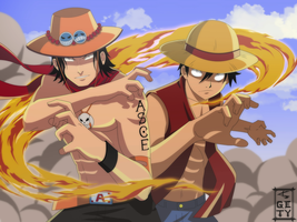 Ace and Luffy by Nouin