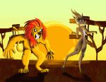 Angry Lion and Trolling gazelle by Excalavera