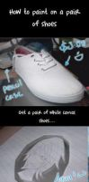 Shoe painting tutorial by Arlequinne