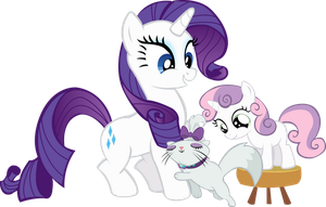 Rarity, Sweetie Belle and Opal by TrueCelticHeart
