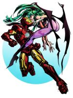 morrigan and  iron man by Haseo1970