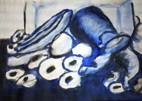 Fruit and Veg Still Life blue by Rae134