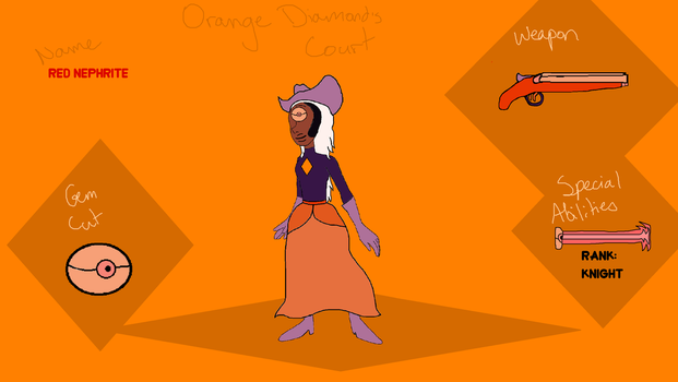 Red Nephrite's profile in Orange Diamond's Court by ProtanaArchives94