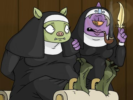 Orcish Nun About To Be Tickled by Lord-Reckless