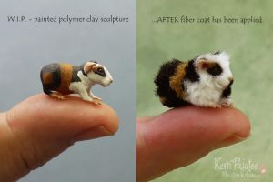 Before / After 1:12 Guinea Pig sculpture by Pajutee