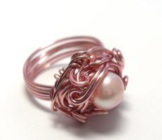 Pearl Swirl Ring by sojourncuriosities