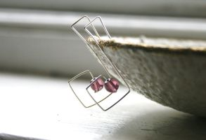 Silver Geometric Earrings by WrappedbyDesign