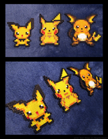Pichu, Pikachu, and Raichu Set by BklynSharkExpert