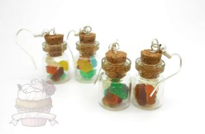 Gummy bear candy jar earrings by ilikeshiniesfakery
