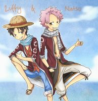 OP FT Crossover: Luffy and Natsu by Angels-Leaf