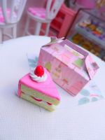 6th scale strawberry cake and box by LittlestSweetShop