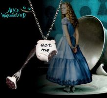 Alice in Wonderland bitten Eat Me Cake necklace by crafting-Farah
